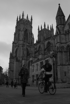Woman and Cyclist, York Minster